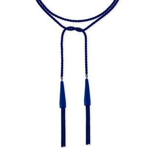 NWT Kendra Scott Navy Blue Phara Tassel Necklace
